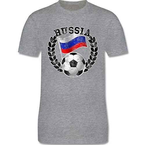 EM 2016 - Frankreich - Russia Flagge & Fußball Vintage - Herren Premium T-Shirt Grau Meliert