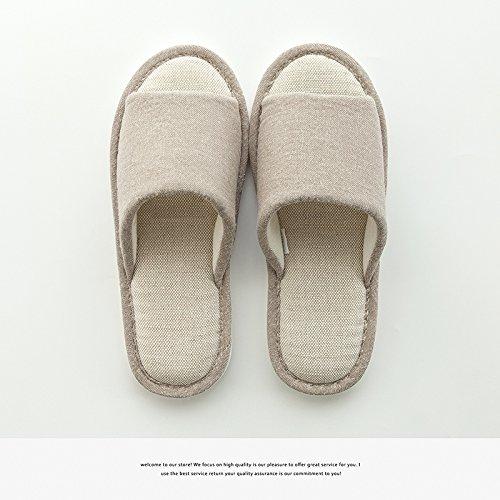 DogHaccd pantofole,Coppie di estate lino pantofole donne indoor semplice antiscivolo per pavimenti morbidi pavimenti in legno ventilazione home le scarpe da uomo Il caffè1