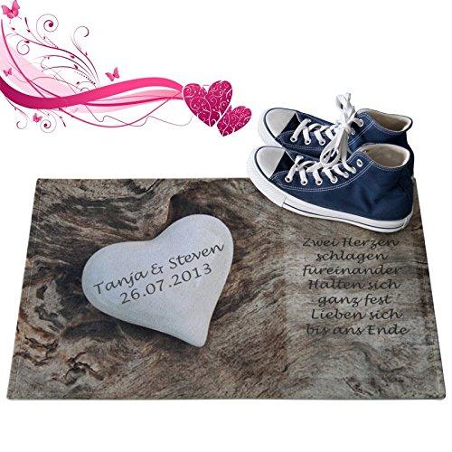 Personalisierte Fußmatte Romantik mit Herzen - Fußabtreter Liebesherz mit Namen als romantisches Geschenk für Verliebte und Paare (1 weißes Steinherz)