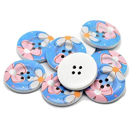 30x grande redonda de madera Botones con fondo azul y flores, color blanco y rosa pintado sobre. Para ropa coser fabricación de tarjetas, manualidades-B16