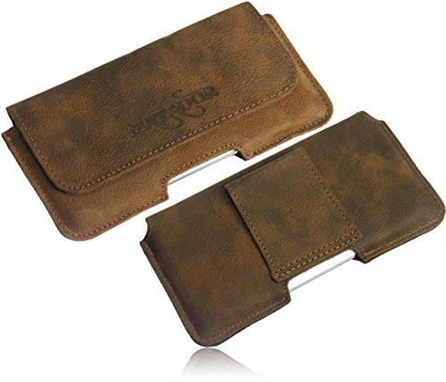 Matador Echt Leder Tasche Case Hülle Handytasche Gürteltasche Quertasche für Motorola Moto G 2.Generation 4G LTE (2014) in Antik Tobacco Vintage Style mit verdecktem Magnetverschluß und Gürtelschlaufe