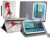 Emartbuy® Denver TIQ-11003 10.6 Zoll Tablet Universalbereich (10-11 Zoll) Elegante Dame Multi Angle Exekutiv Folio Mappen Kasten Abdeckung mit Kartensteckplätze + Eingabestift