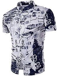 Camisas Manga Corta Hombre Casual Estampada Ajustado
