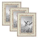 PHOTOLINI 3er Set Vintage Bilderrahmen 13x18 cm Weiss Shabby-Chic Nostalgie