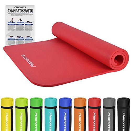 MSPORTS Gymnastikmatte Premium | inkl. Übungsposter | Hautfreundliche - Phthalatfreie Fitnessmatte - Rubinrot - 190 x 100 x 1,5 cm-sehr weich-extra dick | Yogamatte