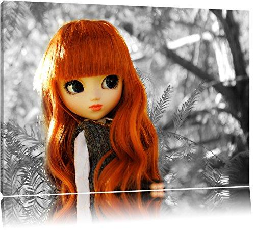jolie poupée à l'automne forêt noir / blanc sur toile, énorme XXL photos complètement encadrée avec civière, impression d'art sur ??la photo murale avec cadre, moins cher que la peinture ou une peinture à l'huile, pas une affiche ou une banniè