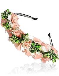 MoreChioce Bohemia Fleur Bandeau, Bandeaux Accessoires Cheveux de Mariage Fill Coiffe de Mariée Vigne Couronne Beach Hairwear,Bandeau Rose