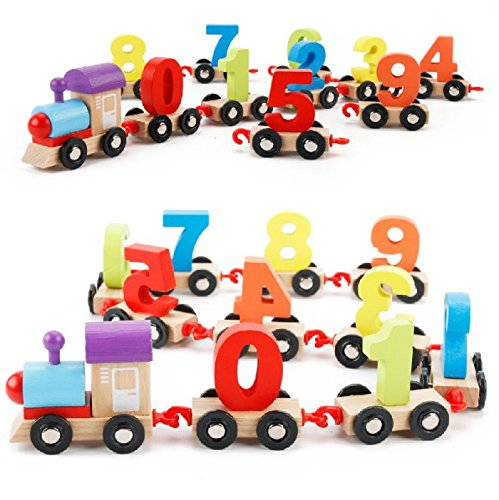 Moonvvin Digital Wooden Train Toy, 0-9 Number Railway Train Children's Educational Toys for Toddlers Kids Intellectual Developmental Education Christmas Gift (Style B)
