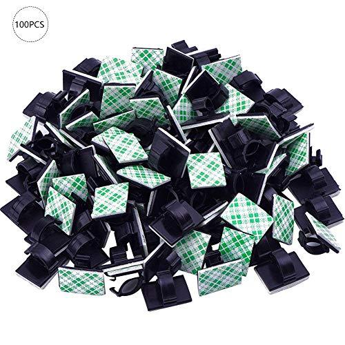 kabelclips selbstklebend schwarz für Haus, Büro, Auto, PC. Anbringen an Wand oder Schreibtisch für Kabelmanagement (19 x 14 mm) - Quiet.T