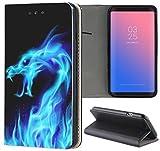 Samsung Galaxy A3 2017 Hülle Smart Flipcover Schutzhülle Case Handyhülle für Samsung Galaxy A3 2017 (199 Drache Dragon Schwarz Blau Feuer)