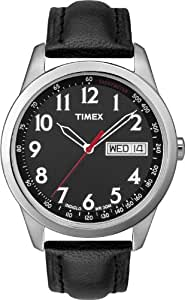 Timex Indiglo T2N230PF Men's Analog Quartz Watch, Leather Strap with Black Top Stitching