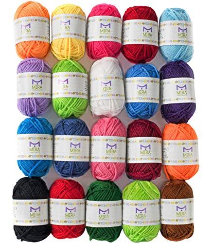 Mira Handcrafts 20 Acrylgarn-Bonbons - 438 m Mehrfarbiges Garn insgesamt - tolles Häkel- und Strick-Starter-Set für buntes Handwerk - verschiedene Farben - 7 PDF-E-Books mit Garnmuster -