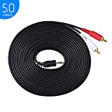 ammoon Instrument Cables Jack Stereo Audio Cable 3.5mm Stecker auf Dual RCA Audio Kabel Stecker Y Splitter Drahtkabel (5m / 16.4ft) für Computer zu TV Verstärker Lautsprecher