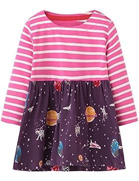 Kaily Mädchen Langärmelig Party Cartoon Kleid