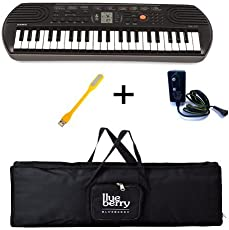 Casio SA-77 Mini Keyboard-44 Keys with Adapter & Blueberry Cover Bag