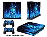 PlayStation 4 PS4 Designfolie Sticker Skin - Aufkleber Schutzfolie für Sony Playstation 4 PS4 Konsole mit 2 Aufkleber für Playstation DualShock 4 Wireless Controller - Blue Fire Skull