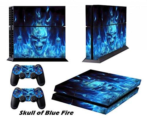 Ps4 pelli playstation 4 vinile adesivi giochi ps4 sistema + due decalcomanie del controller - skull of blue fire