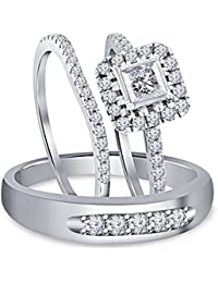 Silvernshine 1.80 Ct Diamond 14k White Gold Over His & Her Engagement & Wedding Trio Ring Set