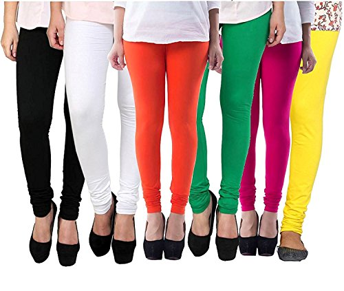 ZAKOD Women\'s Cotton Lycra Churidar Leggings Combo (Pack of 6)