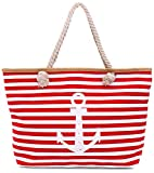 Faera Strandtasche Vintage Anker gestreift XXL Shopper Beach Bag mit breiter Kordel Schultertasche, Taschen Farbe:Rot