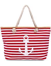 cb11228a6d32f Faera Strandtasche Vintage Anker gestreift XXL Shopper Beach Bag mit  breiter Kordel…