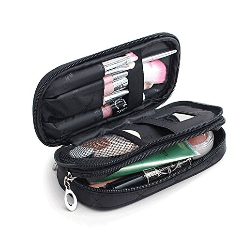 MLMSY Make-up-Tasche für Frauen mit Spiegel Beauty Make-up Pinsel Taschen Reise-Kit Organizer Kosmetiktasche Professional Multifunktions 2 Layer Organizer (schwarz) (Mit Multifunktions-organizer Reißverschluss)