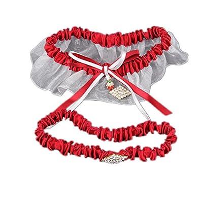 TRLYC Keepsake Bridal Crystal Lace Garter Set Rhinestone Stretch Wedding Decorated