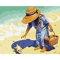 Pintura al óleo sin marco por números, para manualidades, regalo de una chica en la playa