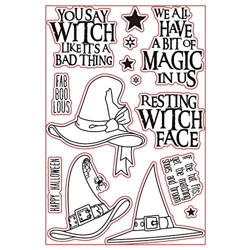 2018 magische hexe hüte transparent stempel klar briefmarken für diy scrapbooking papier karten machen dekorative bastelbedarf 4x6 zoll []