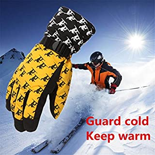 AmazingDays Adult Winter Warm Waterproof Windproof Snow Snowboard Ski Sports Gloves (Yellow)