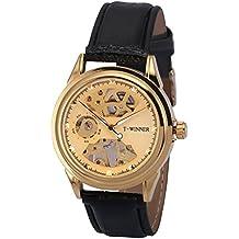 AMPM24 PMW478 Reloj Mecánico de Cuero, Dial Dorado