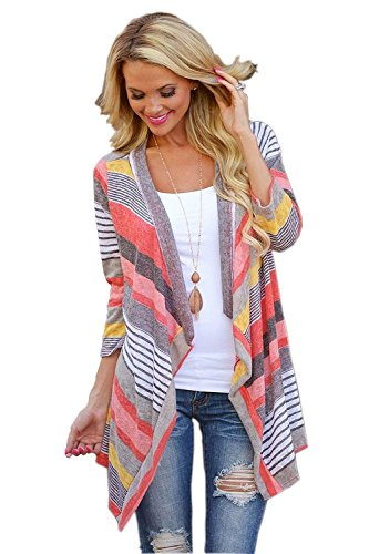 Minetom Donna Irregular Stripe Scialle Cardigan Maniche Lunghe Autunno Jacket Sweatercoat Outwear Top Cover Up Camicetta ( IT 38 )