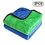 Xpassion Premium Mikrofasertücher Auto Poliertuch Auto Reinigungstuch Poliertücher (2 Stücke Blau & Grün)