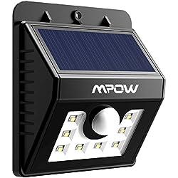 Foco Solar 8 LED Versión Mejorada Lámpara Solar Mpow Impermeable con Senosr de Movimiento, Lámpara de Pared Jardín para Patio, Terraza, Patio, Jardín, Casa, Camino de Entrada, Escaleras, Pared Exterior