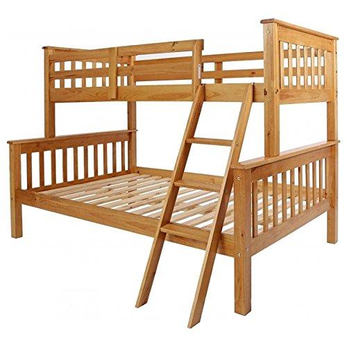 Seconique Neptune Triple Sleeper Wooden Bunk Bed Frame, Oak