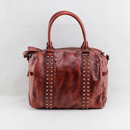 Ordinateur portable sac à main en cuir vintage épaule diagonal de la couche d'en-tête de sacs en cuir Red