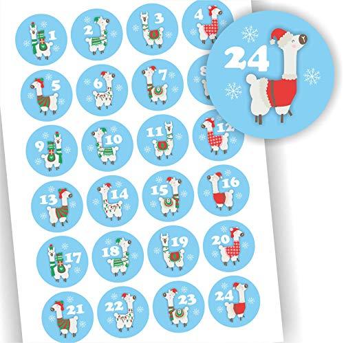 Play-Too 24 Aufkleber Adventskalender Zahlen Fest Weihnachten Lama blau Aufkleber Sticker
