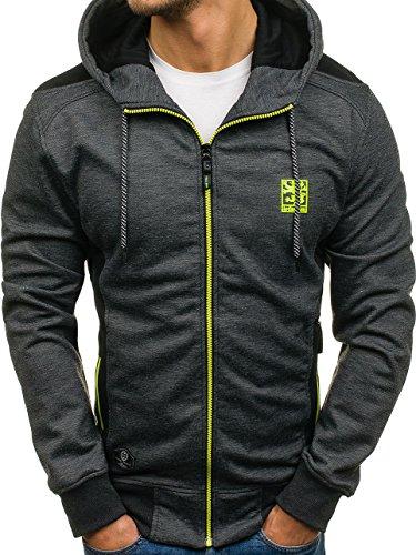 BOLF Herren Sweatshirt mit Kapuze Reißverschluss Hoodie Sport Style T&C STAR 2086 Schwarz XL [1A1] (Reißverschluss-hoodies)