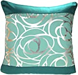 "Teal Blue Metallic Print Cushion Cover, Skye Cushion Covers, 18""x18"", 45cmx45cm"