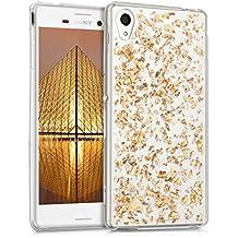 kwmobile Funda para Sony Xperia M4 Aqua - Case para móvil en TPU silicona - Cover trasero Diseño copo en oro transparente