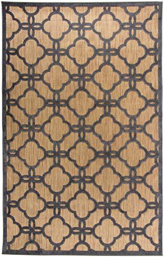 Carpetforyou Modern-klassischer flachgewebter In- & Outdoor Teppich Marocco marokkanisch braun/beige grau in 4 Größen für Wohnzimmer oder Terrasse (115 x 170 cm) (Braun Outdoor-teppich)