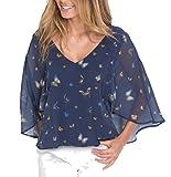 Damen Bluse Shirt mit Fledermausärmel in Indigo blau mit Motiv Druck Schmetterlinge verziert doppellagig gearbeitet Größe 32 bis 46 Nummer 39848 (32/34)