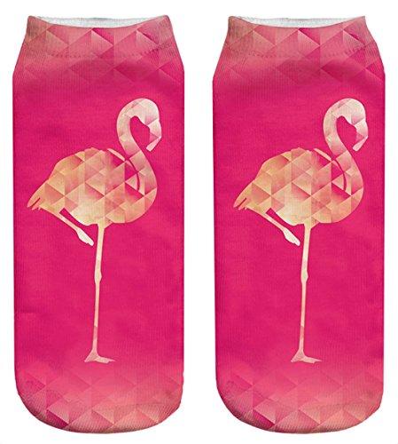 Kukubird New Summer Range Various Emoji Animal Print Pattern Short Socks - Flamingo Fuchsia (Zehen-socken Animal-print)