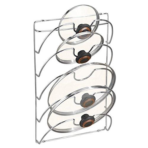 mDesign accroche casseroles mural, vertical – range couvercle pratique pour ustensiles de cuisine et poêle – porte couvercle mural maniable – métal chromé