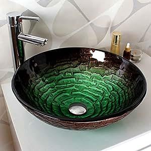homelavafans modern rund gr n geh rtetes glas waschbecken. Black Bedroom Furniture Sets. Home Design Ideas