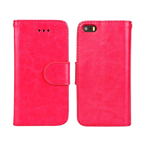 iPhone 5/5S Case, [Wallet Function] [Stand Feature] Vintage Crazy Horse Premium Leather Case, Flip Folio Book Cover with Magnetic Closure [Cash Pocket & 3 Credit Card Holders] (Rose) Rose