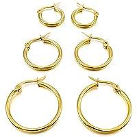 MunkiMix 15mm 20mm 25mm Stainless Steel Hoop huggie Earrings Gold Tone ( 3 Pairs ) Women