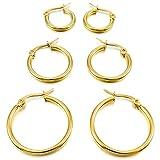 MunkiMix 15mm 20mm 25mm Acciaio Inossidabile Cerchio Orecchini Argento Oro Rose Gold Tre Tono Set ( 3 Coppie ) Donna