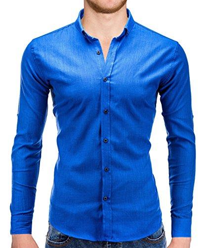 Better Sleep tylz ronaldbz Slim Fit Camicia da uomo a maniche lunghe camicie tempo libero Business maglietta in vari colori (da S a XXL) blu royal XL