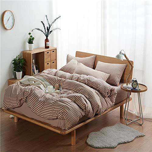 UOUL Bettwäscheset aus gewaschener Baumwolle 4-teilig atmungsaktiv Comfort Small Plaid Dunkelblau Geeignet für Jugendliche Kinder Schlafzimmer König,Camel,California King -